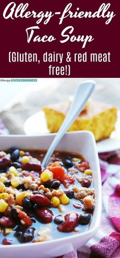 A hamburger-free taco soup that has a gluten-free, homemade taco seasoning that gives a sweet & spicy punch. This Allergy-friendly Taco Soup is Gluten Free Soup, Dairy Free Diet, Lactose Free, Allergy Free Recipes, Meat Recipes, Lunch Recipes, Dinner Recipes, Chicken Recipes, Healthy Sweet Snacks