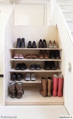 Under stairs shoe storage - note the shallow shelves that make room for boots at the bottom Shoe Storage Under Stairs, Stairway Storage, Attic Storage, Wall Storage, Closet Storage, Small Space Design, Small Spaces, Pull Out Shelves, Shoe Shelves