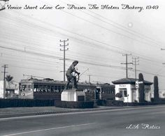 A Venice Short Line car passes by the Helms Bakery in 1949. Source -- Metro Transportation Library and Archive.