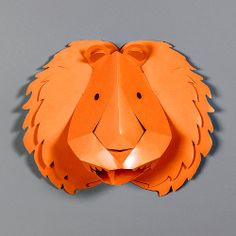Décor mural , Stickers 3D Lion Orange / design by Emma Roux #StudioEmmaRoux