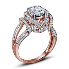 14Kt Rose Gold Plated 925 Silver Brilliant Round Cut Sim.Diamond Engagement Ring #aonedesigns #SolitaireWithAccents