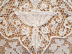 FINEST-Antique-Needle-Lace-LINEN-Embroidered-GRAND-BANQUET-Tablecloth-127x72