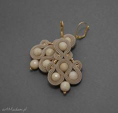 Kolczyki sutasz jadeitami sisu soutache sznurek kamienie koraliki