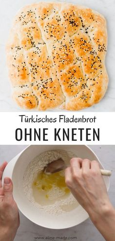 Turkish flatbread (without kneading) Aline Made Baby Food Recipes, Keto Recipes, Cake Recipes, Oven Recipes, Pide Bread, Cheesecake, Keto Dinner, Food Items, Cravings