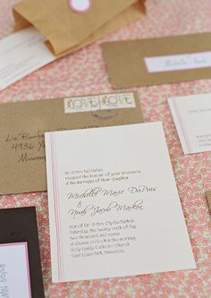 Stitched wedding invitations. Photo by Liz Banfield