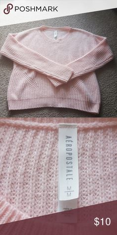 Aeropostale Pink Knit Sweater Brand: Aeropostale Size: L M Color: Pink Style: Long Sleeve Knit Sweater  Pic#3 loose thread Buyers can expect: Careful packaging, Fast shipping, & Delivery confirmation with each item purchased! PET FREE HOME & SMOKE-FREE HOME. Please note: Due to lighting and monitors, the items colours may be slightly differ with the picture. Aeropostale Sweaters Crew & Scoop Necks