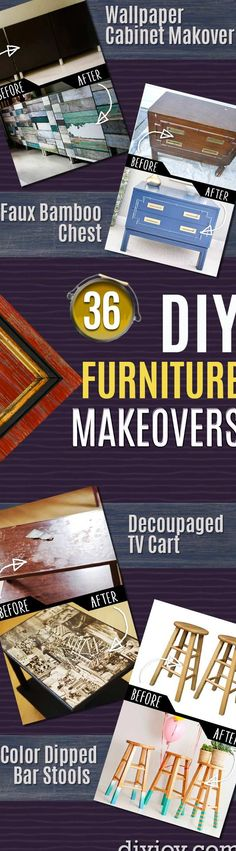 Interested in trying your hand at some DIY furniture makeovers? Refinishing thrift store and garage sales finds is a rewarding task, and it should net you a DIY you can proudly display or sell. Furniture flipping has become quite popular this past year, in fact. Find or buy old pieces to redo, then sell them for a nice profit. Which kinds of furniture should you refinish, though? I wondered this myself, so I scoured Pinterest, Google and some of the top DIY blogs for you. Below, you will… Diy Furniture Decor, Thrift Store Furniture, Thrift Store Crafts, Diy Furniture Projects, Furniture Makeover, Painted Furniture, Bedroom Furniture, Furniture Refinishing, Refurbished Table