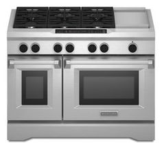 KitchenAid® with Steam-Assist Oven, Dual Fuel Freestanding Range, Commercial-Style. Double ovens, six burners, and an electric griddle provide you with the tools of fine-dining chefs. Ranger, Kitchen Aid Appliances, Kitchen Gadgets, Kitchen Tools, New Kitchen, Kitchen Ideas, Kitchen Redo, Kitchen Inspiration, Kitchen Designs