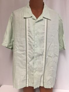 Cubavera Guayabera XXL Shirt Men's 100% Linen Cuban Cigar Wedding Light Green #Cubavera #CubanCigarStyle