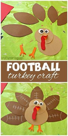 Football Turkey Craft - Great Thanksgiving craft for kids to make! #Boy approved | CraftyMorning.com