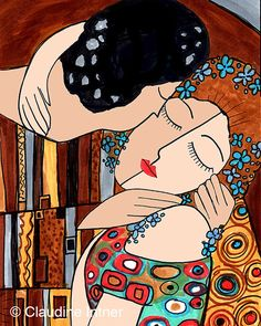 The Kiss Revisited Gustav Klimt Art Print giclee by claudine