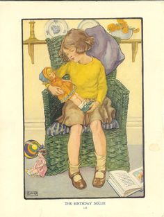 1920s Vintage Childrens Print Young Girl Sitting In Basket Chair Holding Admiring New Doll.  Ideal For Framing.