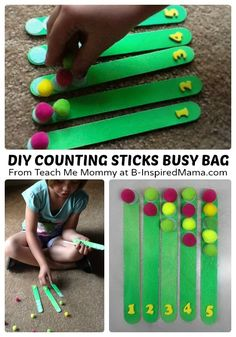 DIY Counting Sticks for a Simple Busy Bag at B-Inspired Mama Preschool Learning, Toddler Preschool, In Kindergarten, Fun Learning, Learning Activities, Preschool Activities, Toddler Games, Space Activities, Everyday Activities