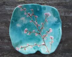 ceramic bowls Keramikschale Cherry blossom Trkis rosa wei Sakura MADE TO ORDER Pottery Bowls, Ceramic Bowls, Ceramic Pottery, Painted Pottery, Pottery Painting, Ceramic Painting, Ceramic Art, Cherry Blossom Painting, Cherry Blossom Girl