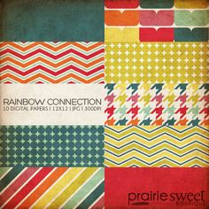12x12 Digital Paper Collection - Rainbow Connection Collection - Great for Scrapbooking or Photographers - 10 Papers - PX8011. $9.99, via Etsy.
