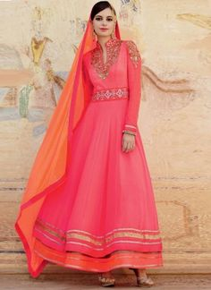 Pink Orange Embroidery Resham Work Multilayer Georgette Wedding Anarkali Suit http://www.angelnx.com/Salwar-Kameez/Anarkali-Suits