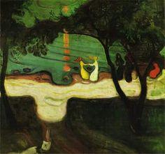 name of artist: Edvard Munch name of work: Dance On The Beach created in 1904 medium: painting size: 99 cm x 96 cm Wassily Kandinsky, Gustav Klimt, Oeuvre D'art, Painting & Drawing, Art History, Landscape Paintings, Modern Art, Art Gallery, Illustration Art