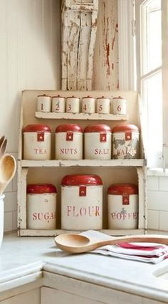 Vintage Kitchen Red and White Kitchen Accessories - White is a popular, mainstay color of any vintage cottage. This one features a bit of red paired with romantic, farmhouse home decor. Vintage Canisters, Vintage Kitchenware, Vintage Enamelware, Vintage Cutlery, Shabby Chic Kitchen, Country Kitchen, Country Living, Country Life, French Kitchen