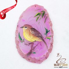 Hand Painted Bird Agate Slice Gemstone Necklace Pendant Jewelry D1706 1428 #ZL #Pendant