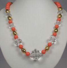 Vintage Salmon Orange Lucite Plastic Bead Necklace Gold Tone Retro Jewelry