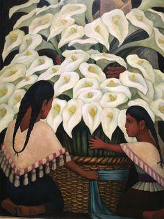 Vendeuse d'arums, Diego Rivera, 1943, huile sur masonite. Mexico at Grand Palais Museum, Paris January 2017 http://webadmin.fr