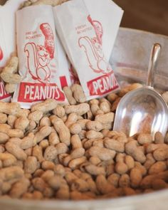 Roasted peanuts set out at the reception for everyone to munch on throughout the night.