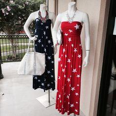 Star spangled maxi dresses. $64. Call us, we ship! 504-324-3488.