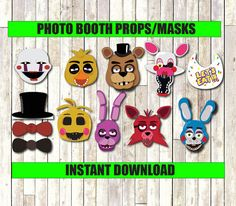 Five Nights at Freddy's Photo Booth Props INSTANT by CocoDelava
