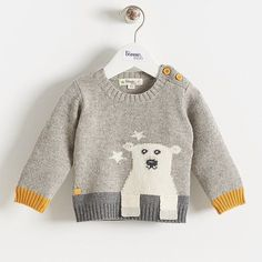 This cute little jumper has a gorgeous polar bear on the front and he's actually in 3D as he has two little paws poking out from the knit. Surrounded by stars this polar bear conjures up magical winter memories. In a lovely grey with yellow accents including the signature The Bonnie Mob apple this is great for both boys and girls #bonniemob #bonniebaby #mobrules #thebonniemob #crabandthefox #babystyle #babyspam #babyclothes #igkids #igbabies #babysweater #babyjumper