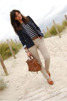 Business casual work outfit: navy blazer, khaki skinnies and navy striped top, cognac accents.