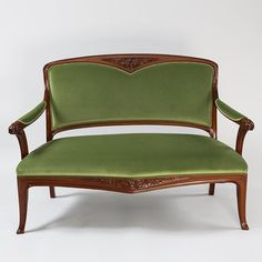 A French settee by Camille Gauthier & Paul Poinsignon. The settee in mahogany has carved stylized flowers on the back, arms and below the seat. Upholstered in green fabric. Upholstered Furniture, Antique Furniture, Settee, Armchair, Art Nouveau Interior, Cincinnati Art, French Sofa, Green Fabric, French Art