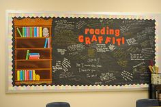 """Reading Graffiti"" board with quotes (the link doesn't work but you can get the idea from the picture)"