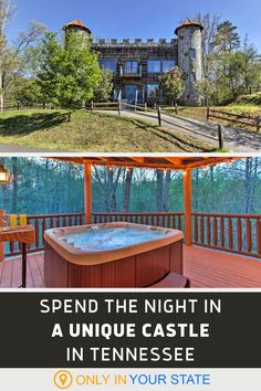 Spend the night in a unique castle Tennessee. The luxury castle-cabin hybrid is overflowing with amenities and offers beautiful views of the Great Smoky Mountains. Perfect for a family vacation, staycation with friends, or romantic anniversary getaway, you'll find multiple bedrooms, a hot tub, fireplaces, pool tables, and plenty more. Vacation Places, Vacation Destinations, Vacation Trips, Day Trips, Vacation Ideas, Tennessee State Parks, Tennessee Vacation, East Tennessee, Cummins Falls State Park