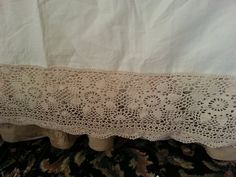 Crocheted Lace King Size Antique Bed skirt by OldGLoriEstateSale