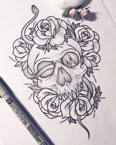 New Tattoo Snake Skull Art Ideas – Tattoo Sketches & Tattoo Drawings Skull Tattoo Design, Skull Tattoos, Body Art Tattoos, Sleeve Tattoos, Tattoo Designs, Tatoos, Skull Design, Mini Tattoos, Stencils Tatuagem