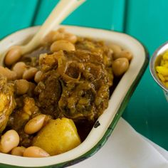 Rich and delicious, this succulent lamb curry recipe is filled with butter beans, potatoes and rice with hints of garlic, turmeric and curry powder. Beef Curry Stew, Beans Curry, Lamb Curry, Lamb Stew, Lamb Neck Recipes, Veal Recipes, Curry Recipes, Savoury Recipes, Lamb Dishes