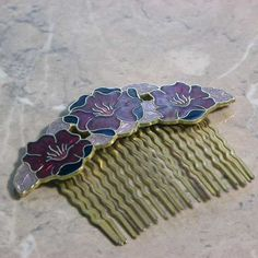 Vintage red flower cloisonne hair comb by Fish Vintage designer jewellery decoration and enameled hair accessory that dates to the 1980s