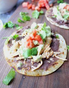 Slow-Cooker Chicken Enchilada Tostadas with Jalapeno Avocado Crema - Healthy Recipe Ecstasy