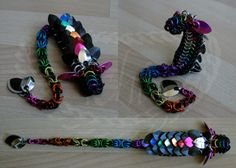 Black and Rainbow Itty Bitty Dragon - Chainmail Sculpture - Gallery - TheRingLord