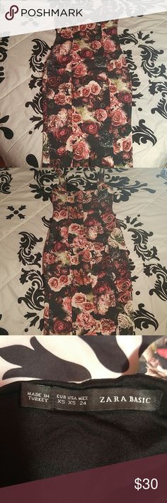 Zara Floral Wiggle Dress Zara Floral Wiggle Dress with structured cups. Brand new without tags. Zara Dresses Midi