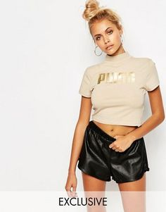 c55575296f4b6 Puma High Neck Cropped T-Shirt With Gold Foil Logo T Shirt Court