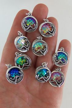chunky overlapping mermaid scale charms, 2 charms for $2.50 by indiefindings.com