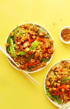Vegan Singapore Noodles! 10 ingredients, simple ingredients, SO flavorful! #vegan #glutenfree #noodles #recipe #healthy #minimalistbaker