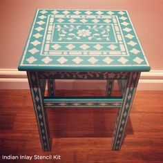 Gorgeous Indian Inlay Stenciled table! Create yours today! http://www.cuttingedgestencils.com/indian-inlay-stencil-furniture.html
