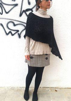 Black knitted poncho black poncho sweater merino wool by EstherTg
