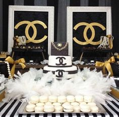 Chanel Party, Chanel Birthday Party, 50th Birthday Party, Birthday Party Decorations, Birthday Celebration, Party Themes, Party Ideas, Bolo Chanel, Chanel Cake