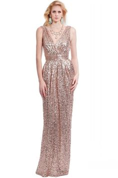 Sheath V Neck Sleeveless Nude Sequined Evening Prom Dress Nude Prom Dresses, Nude Dress, Prom Dresses 2017, Prom Dresses For Sale, Bridesmaid Dresses, Formal Dresses, Fairytale Dress, Looking Gorgeous, Ball Gowns