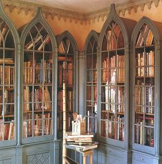 Gothic+Bookcase+World+of+Interiors+James+Mortimer+FindNY+George+Case. World Of Interiors, Dream Library, Future Library, Library Wall, Library Books, Book Storage, Yarn Storage, Storage Baskets, Home Libraries