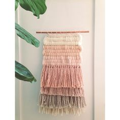 Handmade woven wall art/woven wall hanging in blush, ivory, neutral, nude, and grey.