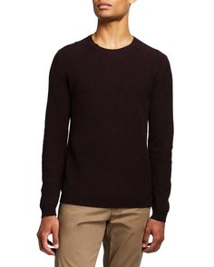 Theory Men's Medin Solid Cashmere Crewneck Sweater In Chianti Multi Crewneck Sweater, Pullover Sweaters, Men Sweater, Neiman Marcus, Theory, Cashmere, Crew Neck, Mens Fashion, Long Sleeve